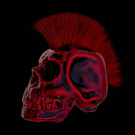 Abstract human skull on a black background. 3D rendering 版權商用圖片