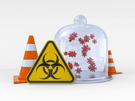 Virus COVID-19, pandemic risk alert. Biohazard sign. Warning sign of virus. 3D rendering 版權商用圖片