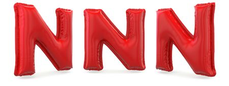 Capital letter N. Uppercase. Inflatable red balloon on background. 3D rendering