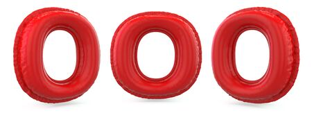 Capital letter O. Uppercase. Inflatable red balloon on background. 3D rendering