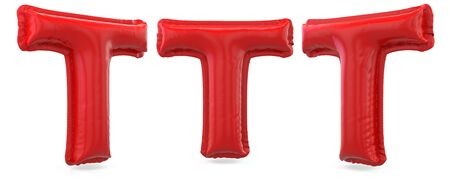 Capital letter T. Uppercase. Inflatable red balloon on background. 3D rendering