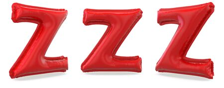 Capital letter Z. Uppercase. Inflatable red balloon on background. 3D rendering