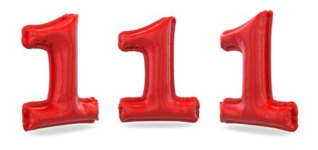 Number 1. Digital sign. Inflatable red balloon on background. 3D rendering 版權商用圖片