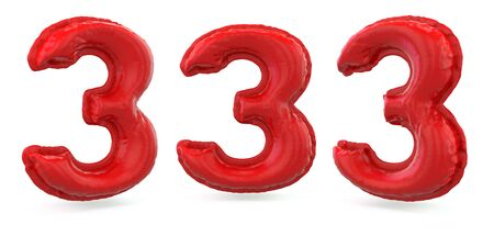 Number 3. Digital sign. Inflatable red balloon on background. 3D rendering