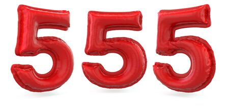 Number 5. Digital sign. Inflatable red balloon on background. 3D rendering