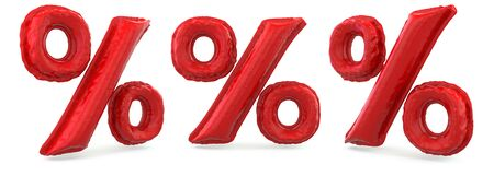 Percent symbol. Digital sign. Inflatable red balloon on background. 3D rendering
