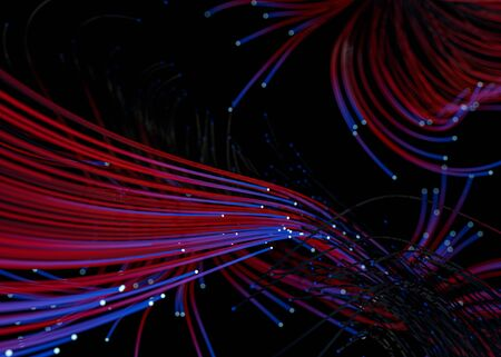 Data technology abstract futuristic illustration. Red and blue lines on dark background. 3D rendering