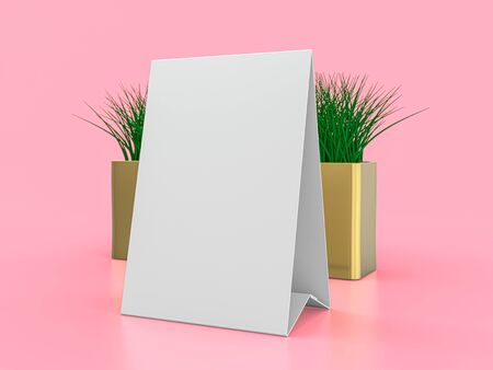 Blank paper Table Tent. Mockup on pink background. 3D rendering. Stock Photo