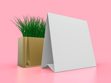 Blank paper Table Tent. Mockup on pink background. 3D rendering.