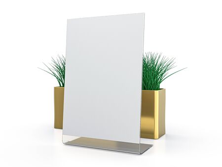 Blank paper Table Tent. Mockup on white background. 3D rendering. Stock Photo