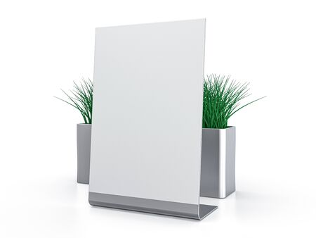 Blank paper Table Tent. Mockup on white background. 3D rendering.