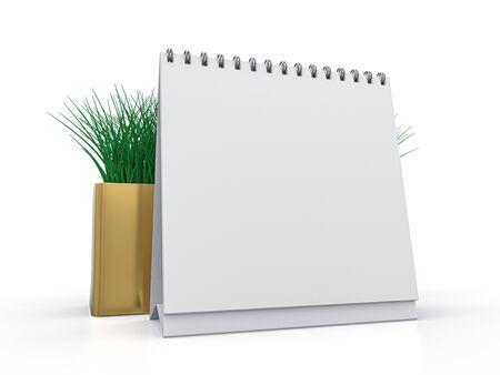 Desk blank calendar mockup on white background. 3D rendering