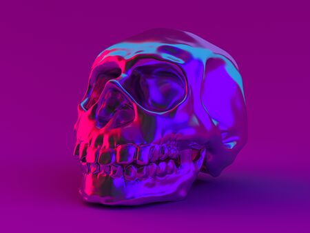 Abstract human skull on a violet background. 3D rendering