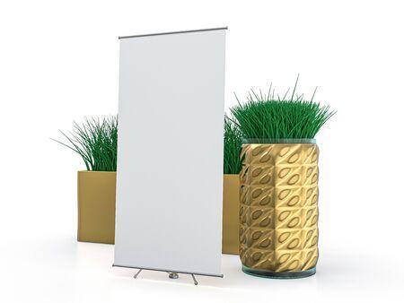 Roll up banner stand. Mockup on white background. 3D rendering. Standard-Bild