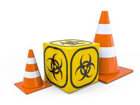 Virus COVID-19, pandemic risk alert. Biohazard sign. Warning sign of virus. 3D rendering Standard-Bild