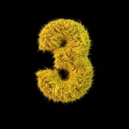 Number 3. Digital sign. Yellow fluffy font on black background. 3D rendering