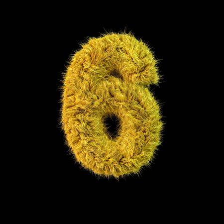 Number 6. Digital sign. Yellow fluffy font on black background. 3D rendering Standard-Bild