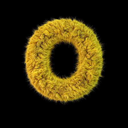Capital letter O. Uppercase. Yellow fluffy font on black background. 3D rendering