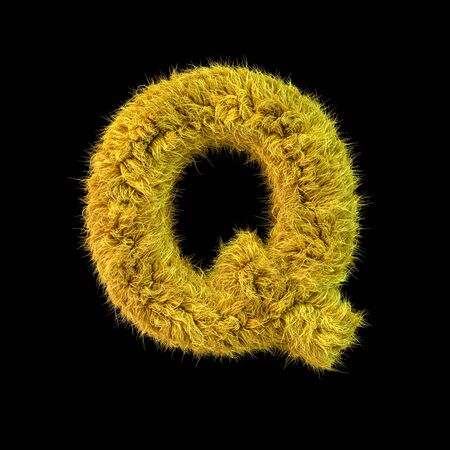 Capital letter Q. Uppercase. Yellow fluffy font on black background. 3D rendering