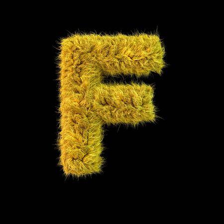 Capital letter F. Uppercase. Yellow fluffy font on black background. 3D rendering Standard-Bild