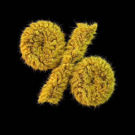 Percent symbol. Digital sign. Yellow fluffy font on black background. 3D rendering Standard-Bild