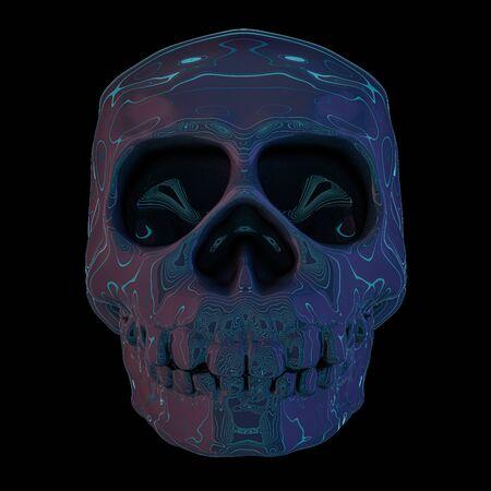 Abstract human skull on a black background. 3D rendering Standard-Bild