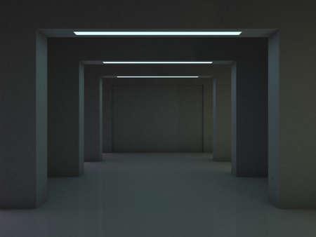 Abstract modern architecture background, empty open space dark interior. 3D rendering
