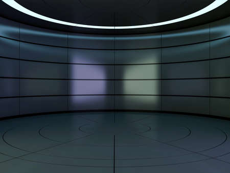 Abstract modern architecture background, empty open space interior. 3D rendering Banco de Imagens