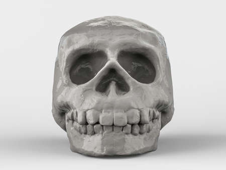 Abstract human skull on a white background. 3D rendering
