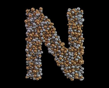 Light gold letter N on the background. 3D rendering 版權商用圖片