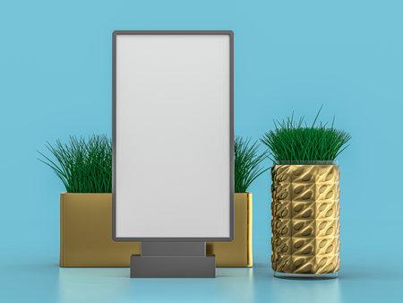 Digital media blank white screen panel mockup on blue background. 3D rendering Standard-Bild