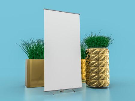 Roll up banner stand. Mockup on blue background. 3D rendering. Standard-Bild