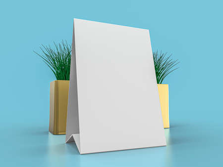 Blank paper Table Tent. Mockup on blue background. 3D rendering.