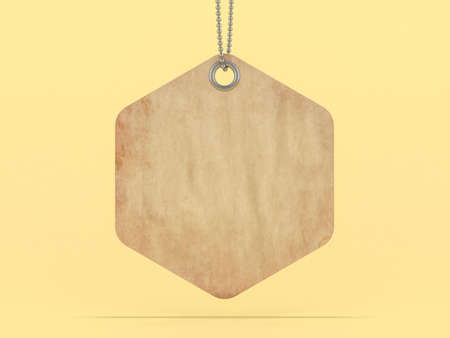 Brown label or price tag on yellow background. 3D rendering Standard-Bild