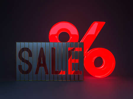 Seasonal sales dark background with percent discount pattern. Business illustration. 3D rendering