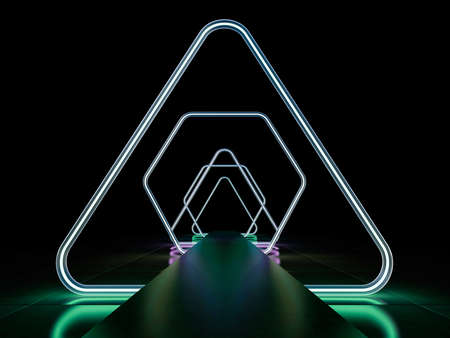 Neon abstract background of lines. 3D rendering