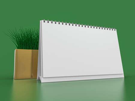 Desk blank calendar mockup on green background. 3D rendering