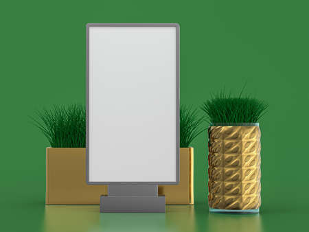 Digital media blank white screen panel mockup on green background. 3D rendering