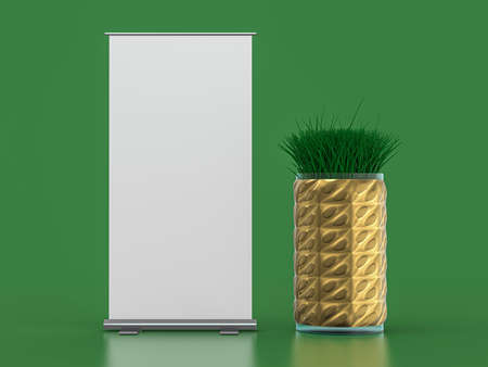 Roll up banner stand. Mockup on green background. 3D rendering.