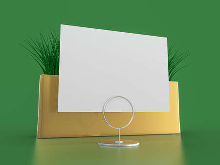 Blank paper Table Tent. Mockup on green background. 3D rendering.