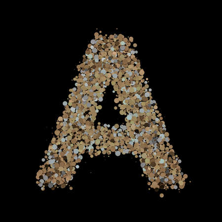 Light gold letter A on the background. 3D