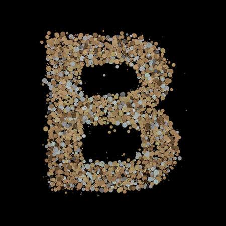 Light gold letter B on the background. 3D 版權商用圖片