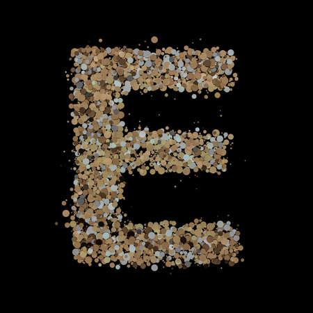 Light gold letter E on the background. 3D