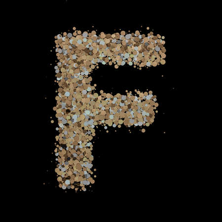 Light gold letter F on the background. 3D