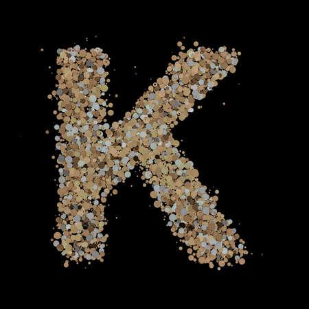 Light gold letter K on the background. 3D