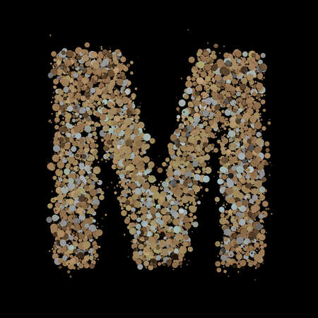 Light gold letter M on the background. 3D Фото со стока