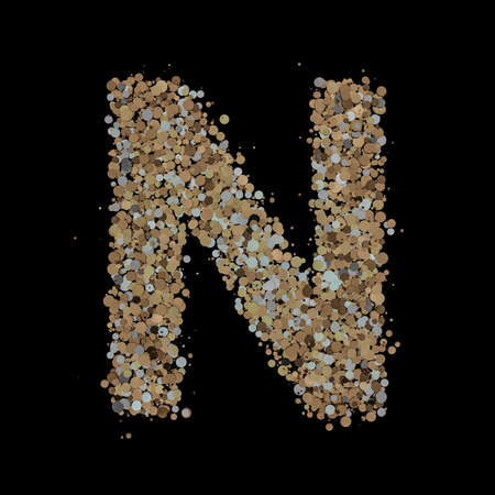 Light gold letter N on the background. 3D Фото со стока
