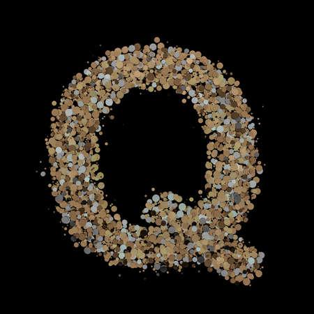 Light gold letter Q on the background. 3D