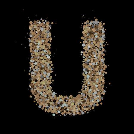 Light gold letter U on the background. 3D 版權商用圖片