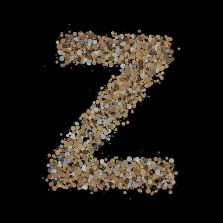 Light gold letter Z on the background. 3D